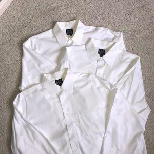 3 white Jos A Banks no iron shirts